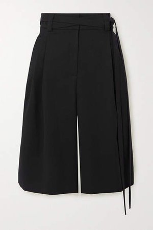 Belted Wool-twill Shorts - Black