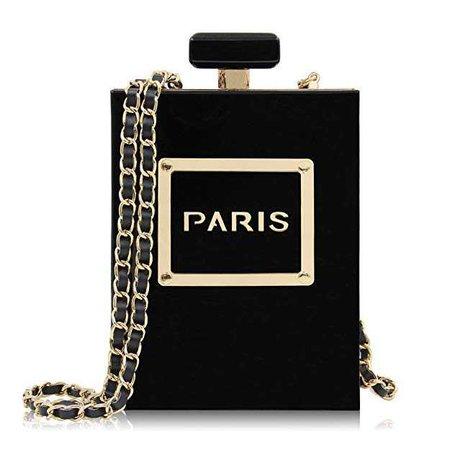 Milisente Women Black Acrylic Evening Bag Perfume Bottle Paris Shape Clutches Purse: Handbags: Amazon.com