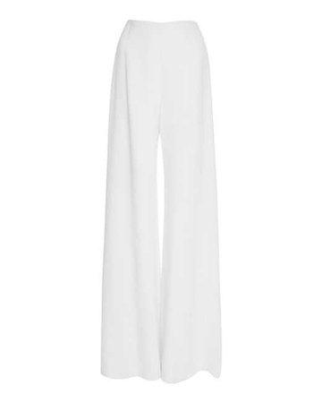 Lyst - Reem Acra Wide Leg Silk Pant in White