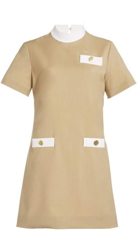 George Keburia Wool Short Sleeve Mini Dress