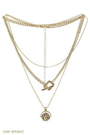 Многоуровневое колье с медальоном золотого цвета 044045066-6 - купить в интернет-магазине LOVE REPUBLIC по цене: 1 799 руб