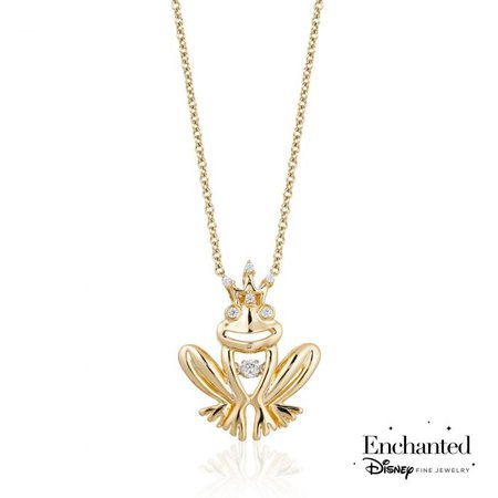 Enchanted Disney Fine Jewelry Tiana's Twinkling Diamond Yellow Gold Plated Prince Naveen Frog with Crown Pendant 1/20ctw - Item PDO5192-SWYP-DS | REEDS Jewelers