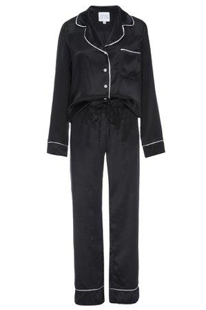 HELENA QUINN - Silk Charmeuse Long Sleeved PJ Top + Pant Set: Black