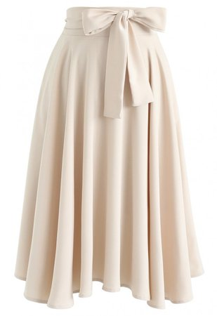 Flare Hem Bowknot Waist Midi Skirt in Light Tan - Skirt - BOTTOMS - Retro, Indie and Unique Fashion