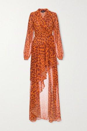 Margot Ruffled Printed Chiffon Wrap Maxi Dress - Orange