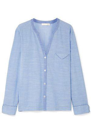 Skin | Jayne cotton-chambray pajama shirt | NET-A-PORTER.COM