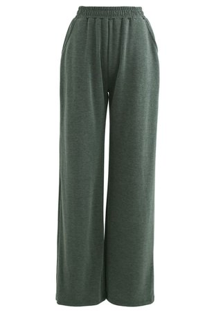 Olive Slouchy Pockets Wide-Leg Pants - Retro, Indie and Unique Fashion