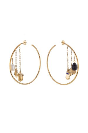 18kt Yellow Gold Plated Earrings with Pearl, Agate and Lapis Gr. One Size