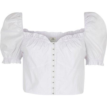 White puff sleeve crop top - Crop Tops / Bralets - Tops - women