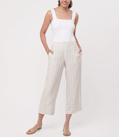Striped Wide Leg Crop Pull On Pants