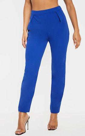 Blue Cigarette Trouser   Trousers   PrettyLittleThing