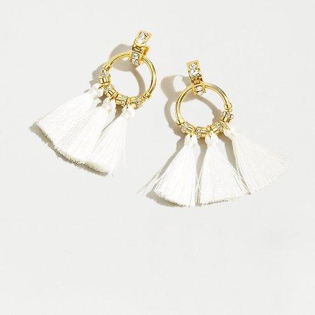 J.Crew: Pavé Tassel Earrings white