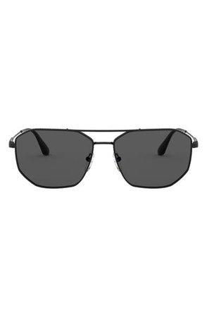 Prada 57mm Rectangular Aviator Sunglasses | Nordstrom