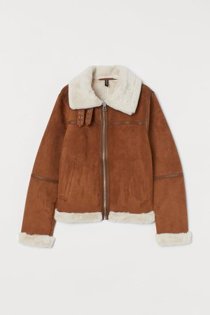 Faux Fur-lined Jacket - Beige