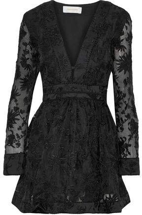 Embroidered Silk-organza Mini Dress