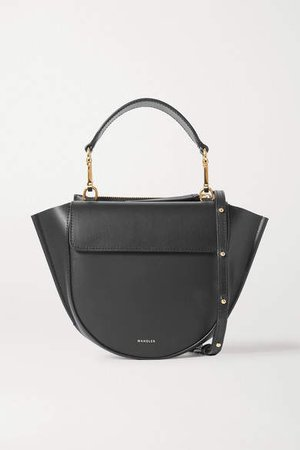 Hortensia Mini Leather Shoulder Bag - Black