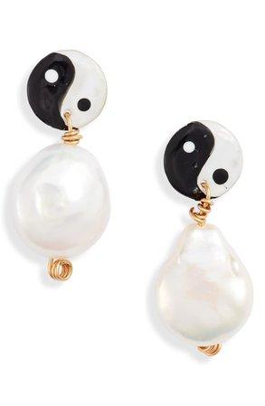 Susan Alexandra Yin Yang Freshwater Pearl Earrings   Nordstrom