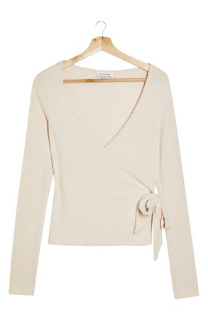 Topshop Ribbed Wrap Top   Nordstrom
