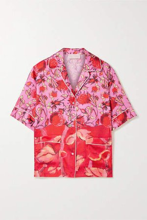 Piped Floral-print Satin-twill Shirt - Red