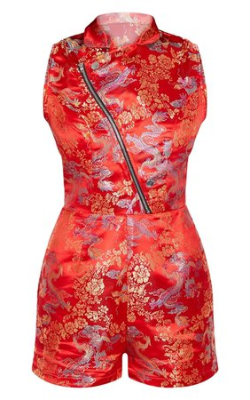 Red Oriental Zip Detail Playsuit   PrettyLittleThing