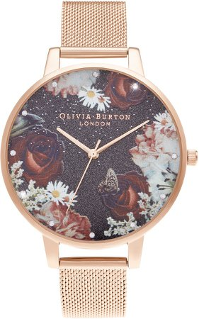 Winter Blooms Mesh Strap Watch, 38mm
