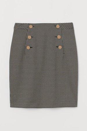 Knee-length Skirt - Beige/houndstooth-patterned - Ladies | H&M US