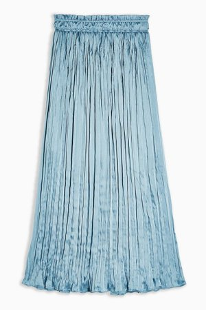 Blue Crushed Satin Pleated Midi Skirt | Topshop