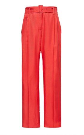 Belted Silk-Satin Straight-Leg Pants By Lapointe | Moda Operandi