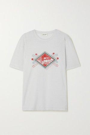SAINT LAURENT | T-Shirt aus Baumwoll-Jersey mit Print und Distressed-Details | NET-A-PORTER.COM