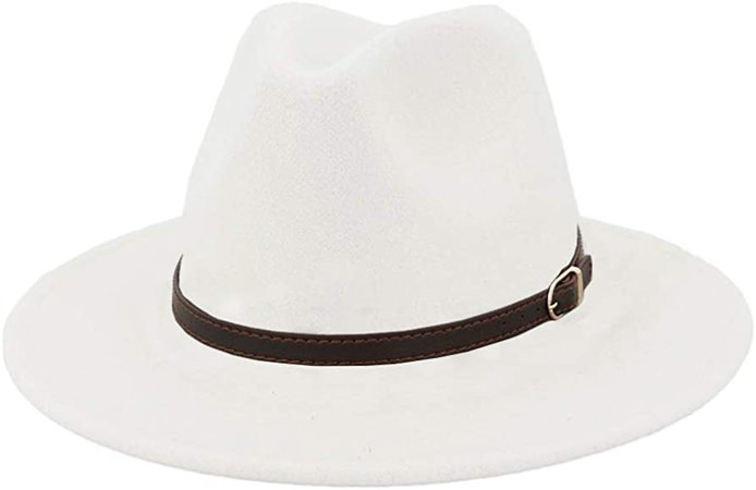 Men & Women Panama Hat Classic Wide Brim Fedora Hat with Belt Buckle-A White at Amazon Women's Clothing store