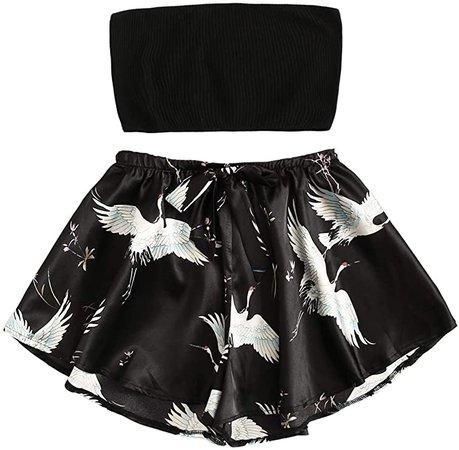 SheIn Women's 2pcs Satin Sleepwear Sleeveless Tube Top Animal Shorts Pajama Set