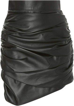 Zeynep Arçay Draped Leather Mini Skirt