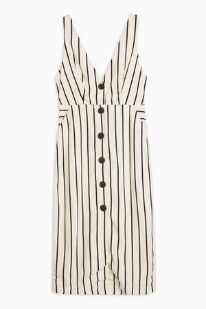 PETITE Ivory Stripe Pinafore Midi Dress | Topshop