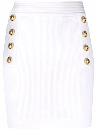 Balmain double-breasted Buttoned Knitted Skirt - Farfetch