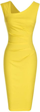 Amazon.com: MUXXN Women's 1950s Sleeveless Slim Business Pencil Dress (XL,Yellow): Clothing
