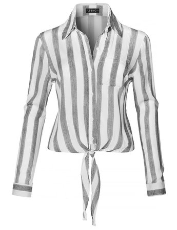 Long Sleeve Button Down Striped Crinkled Self Tie Blouse Shirt   LE3NO white
