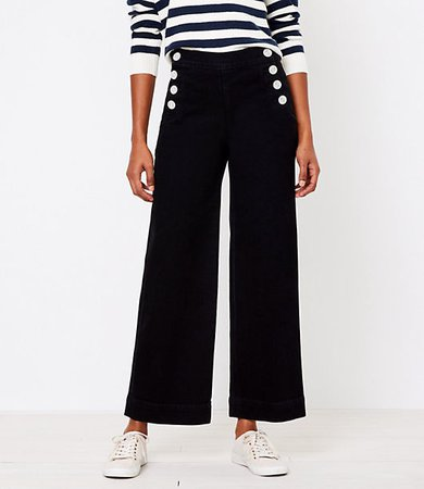 Tall Wide Leg Sailor Jeans in Black