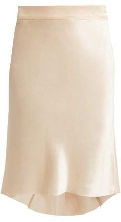 Bias Godet Silk Satin Slip Skirt - Womens - Nude
