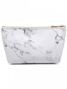[19% OFF] [HOT] 2019 Marble Print Portable Makeup Bag In WHITE   ZAFUL