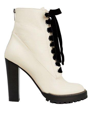 Sergio Rossi Camilla White Combat Boots