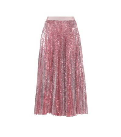 Pleated sequinned skirt