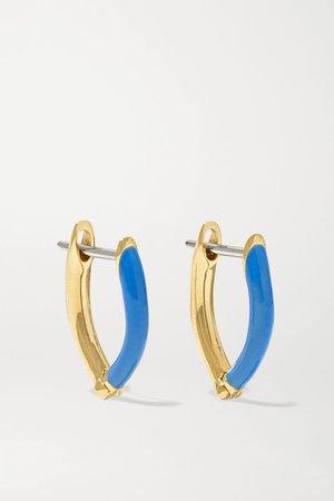 Gold Cristina small 18-karat gold and enamel earrings | Melissa Kaye | NET-A-PORTER