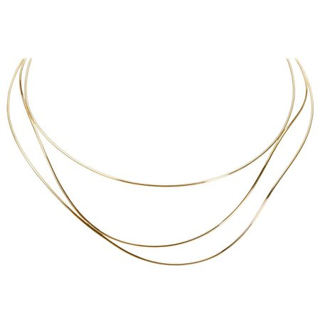 Tiffany and Co. Elsa Peretti Wave Necklace in 18 Karat Yellow Gold For Sale at 1stdibs