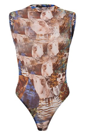 Blue Abstract Renaissance Sleeveless Bodysuit   PrettyLittleThing USA