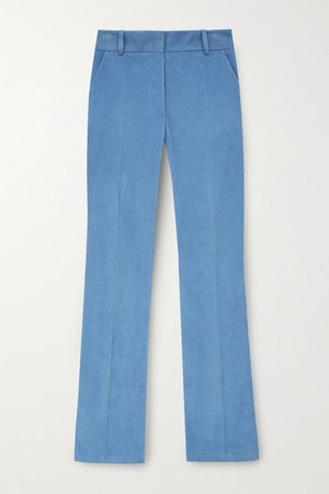 Blue Cotton-corduroy straight-leg pants   Victoria Beckham   NET-A-PORTER