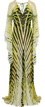 Draped Printed Silk-chiffon Gown