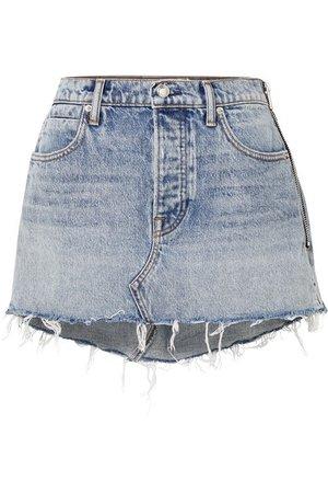 Alexander Wang | Snip zip-embellished frayed denim mini skirt | NET-A-PORTER.COM