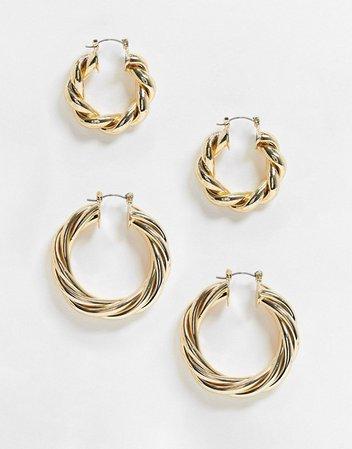 ASOS DESIGN pack of 2 hoop earrings in 30mm 40mm twist designs in gold tone | ASOS