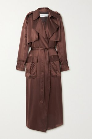 Silk-satin Trench Coat - Brown