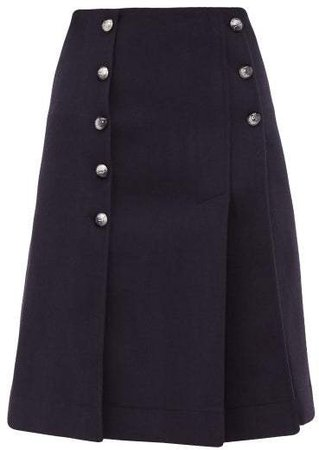 Buttoned Front Slit Wool Blend Skirt - Womens - Navy
